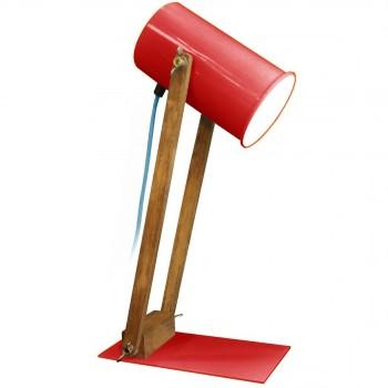 Lampe articulée bois et métal Regulus rouge