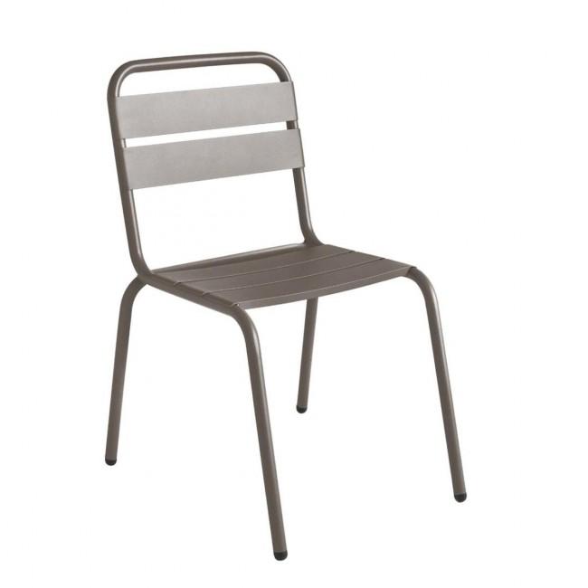 Chaise de jardin métal taupe design Visalia