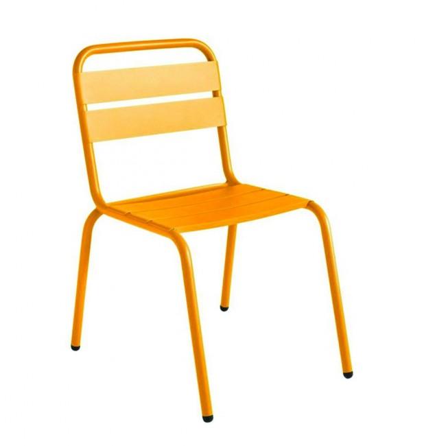 Chaise de jardin métal jaune moutarde design Visalia