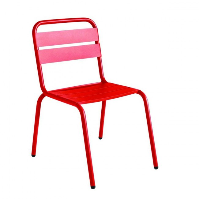 Chaise de jardin métal rouge design Visalia