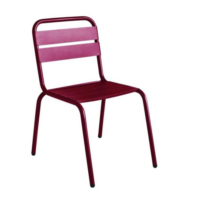 Chaise de jardin métal bordeaux design Visalia