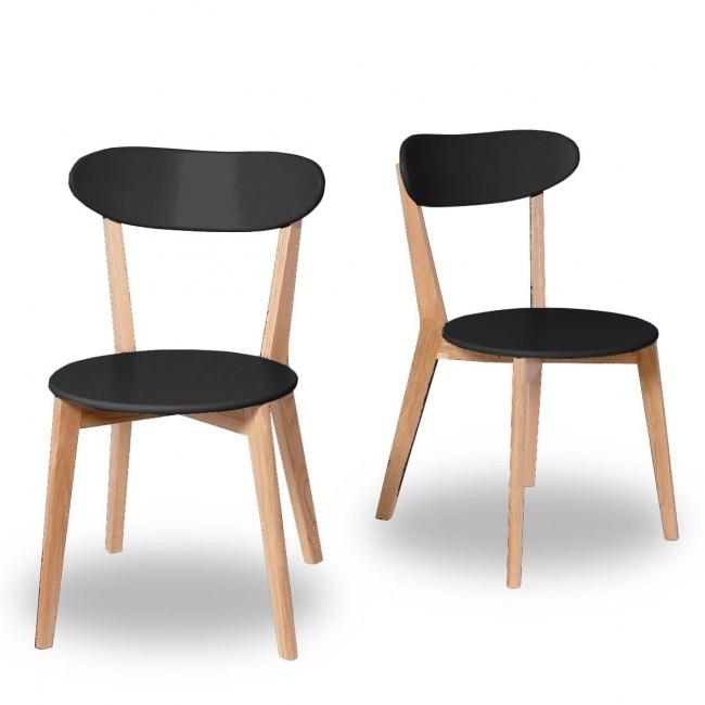 chaises design scandinave Vitak bois et noir