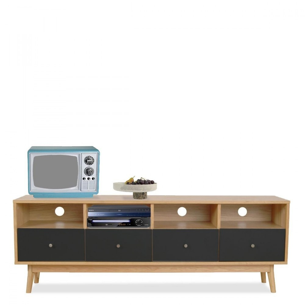 meuble tv 4 tiroirs skoll look scandinave by drawer fr. Black Bedroom Furniture Sets. Home Design Ideas