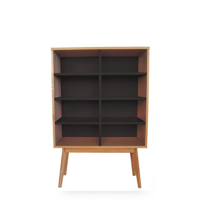 Bibliothèque design scandinave bois 8 niches Skoll noir vue de face