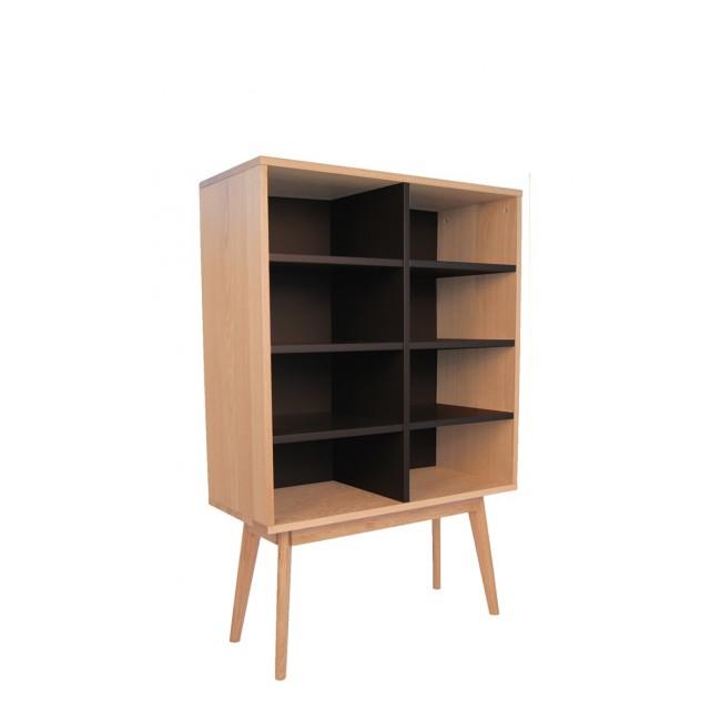 Bibliothèque design scandinave bois 8 niches Skoll noir vue de profil
