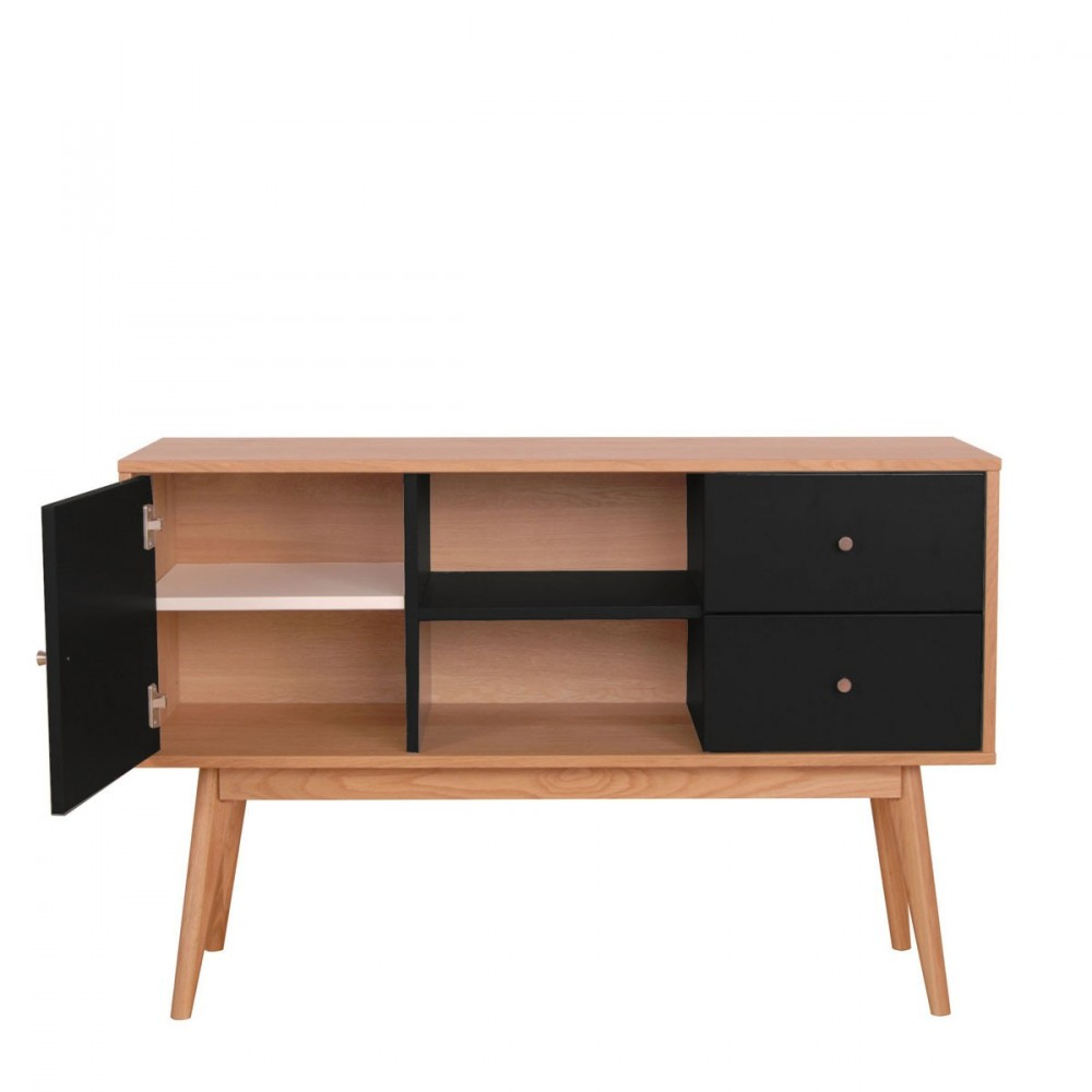 buffet scandinave design laque mat et bois skoll by drawer. Black Bedroom Furniture Sets. Home Design Ideas