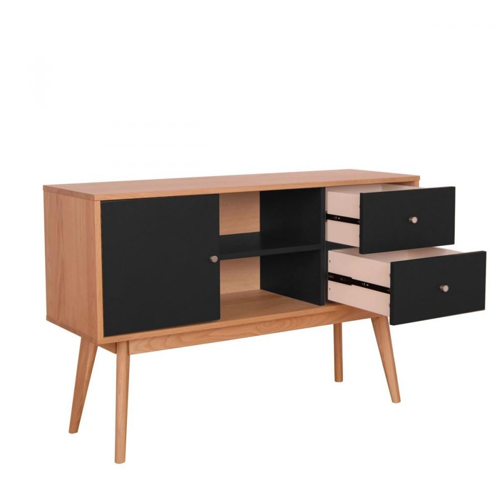 Buffet design laque mat et bois skoll for Planche bois noir laque
