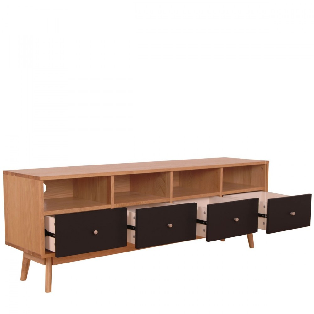meuble tv 4 tiroirs skoll style scandinave by drawer