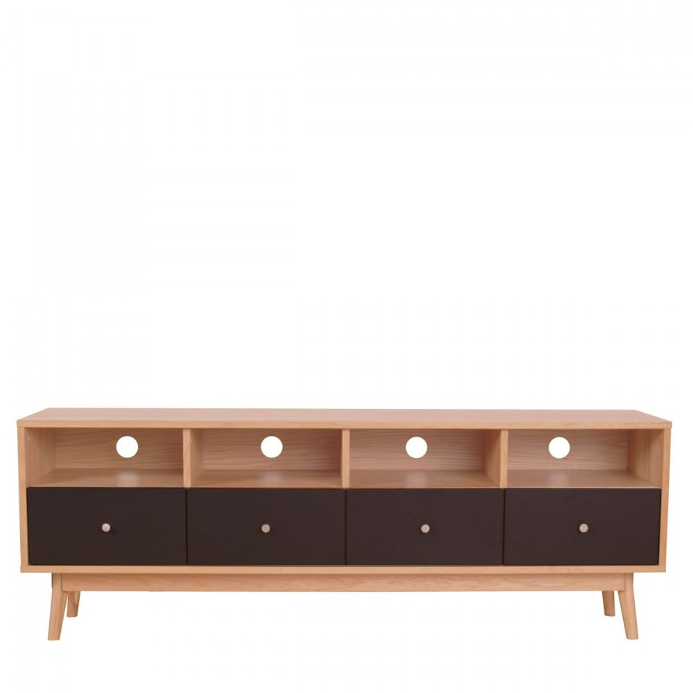 Meuble tv scandinave 4 tiroirs skoll by drawer for Meuble tv design noir
