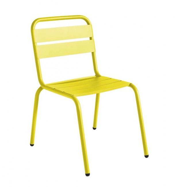 Chaise de jardin métal design jaune citron Visalia