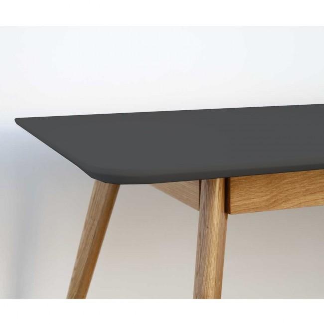 Table scandinave bois et laque Skoll Medium 160cm gris anthracite