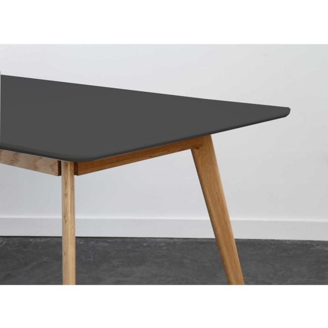 Table scandinave bois et laque Skoll Large 180cm gris anthracite detail
