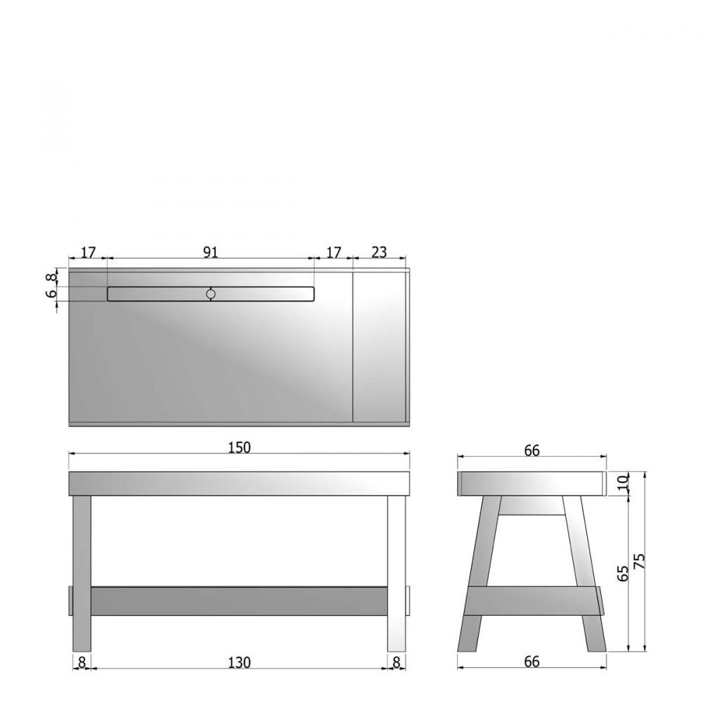 Bureau en bois rangement groove par drawer - Rangement bureau bois ...