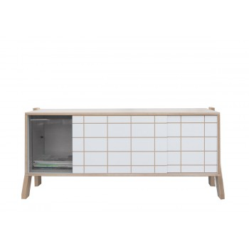 Buffet design en bois Small R-Frame plexi gris