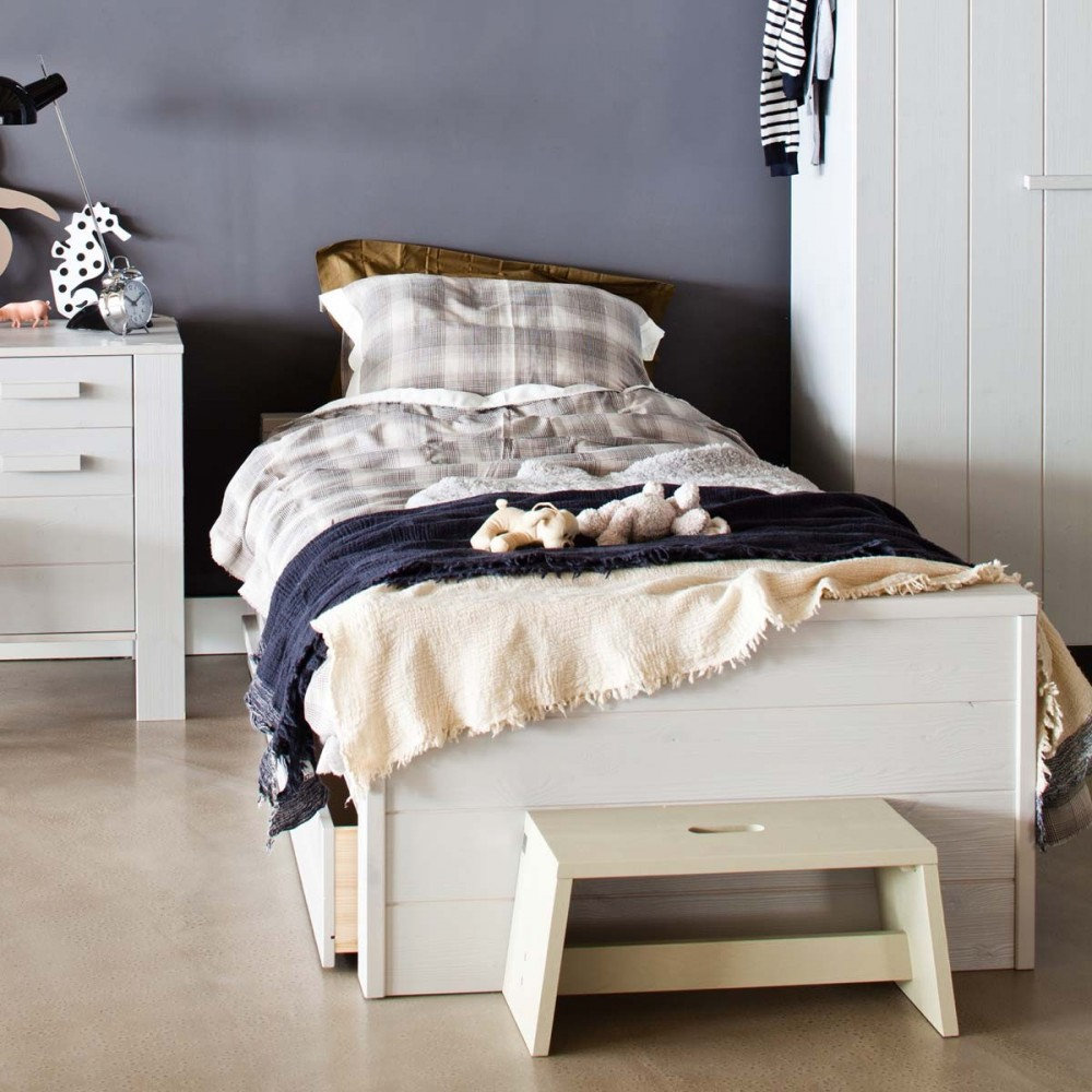 lit 1 place en bois balnc et gris denis par. Black Bedroom Furniture Sets. Home Design Ideas