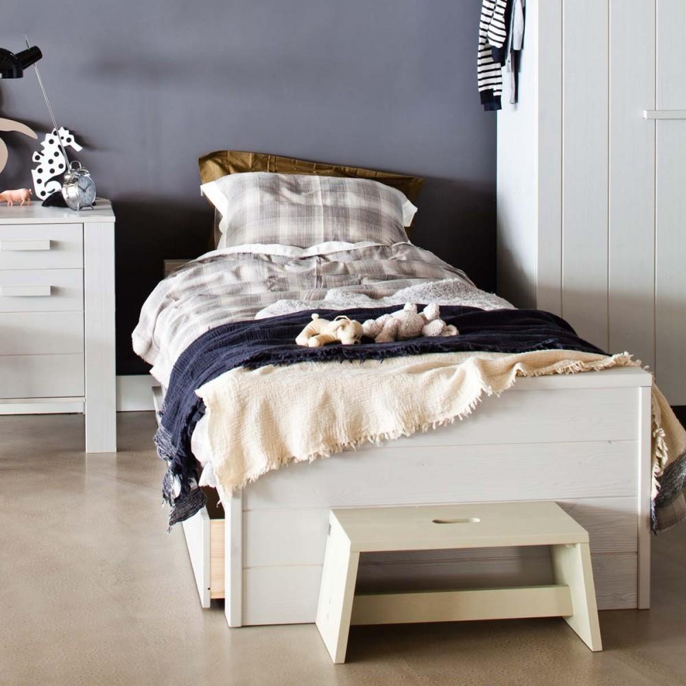 lit 1 place en bois balnc et gris denis par. Black Bedroom Furniture Sets. Home Design Ideas