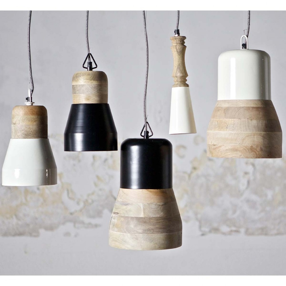 Suspension bois m tal salt and pepper big par for Luminaire blanc