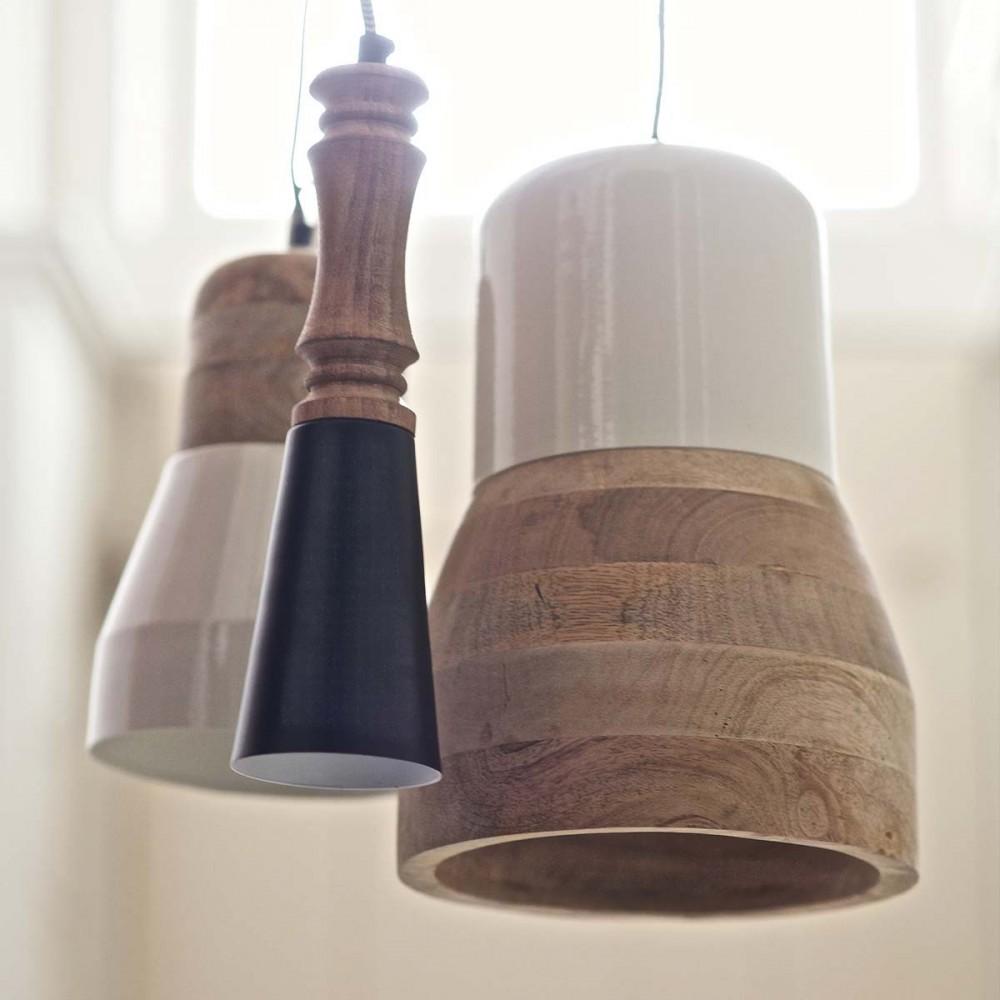 Suspension Luminaire En Bois - Suspension bois métal Salt and Pepper Big par Drawer fr