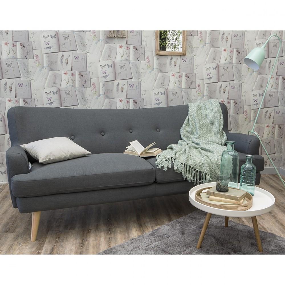 canap 3 places gris design r tro scandinave arcus. Black Bedroom Furniture Sets. Home Design Ideas