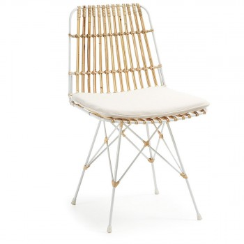 Chaise en rotin et métal blanc AINISA