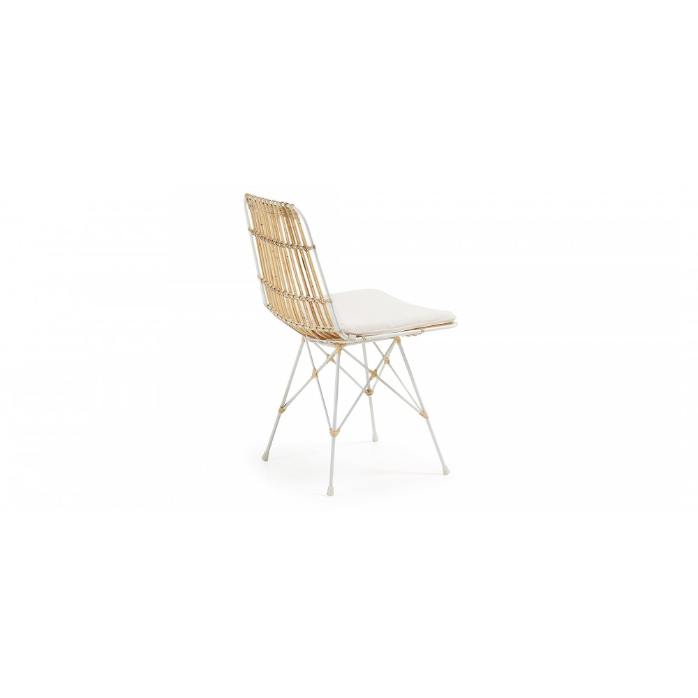 Chaise scandinave rotin et m tal blanc ainisa drawer for Chaises en rotin soldes