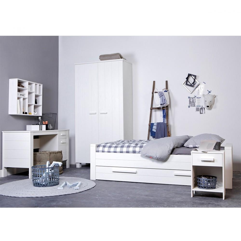 cadre de lit 1 place en bois fsc blanc et gris denis. Black Bedroom Furniture Sets. Home Design Ideas