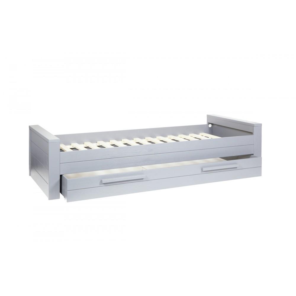 Cadre de lit 1 place en bois fsc blanc et gris denis for Schuhschrank 90 x 200