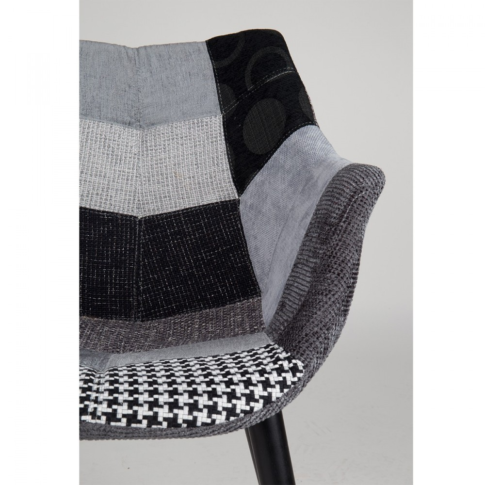 Chaise Lounge Eleven Patchwork Zuiver - Fauteuil patchwork noir et blanc
