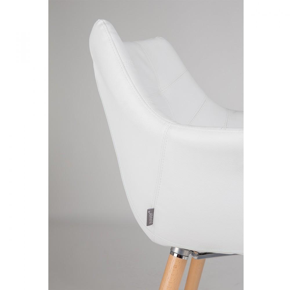chaise lounge simili cuir twelve skin blanche de zuiver rr - Chaise Cuir Blanc