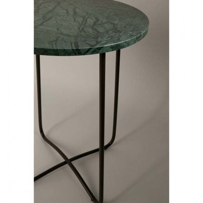 Table d'appoint retro métal et marbre vert Emerald