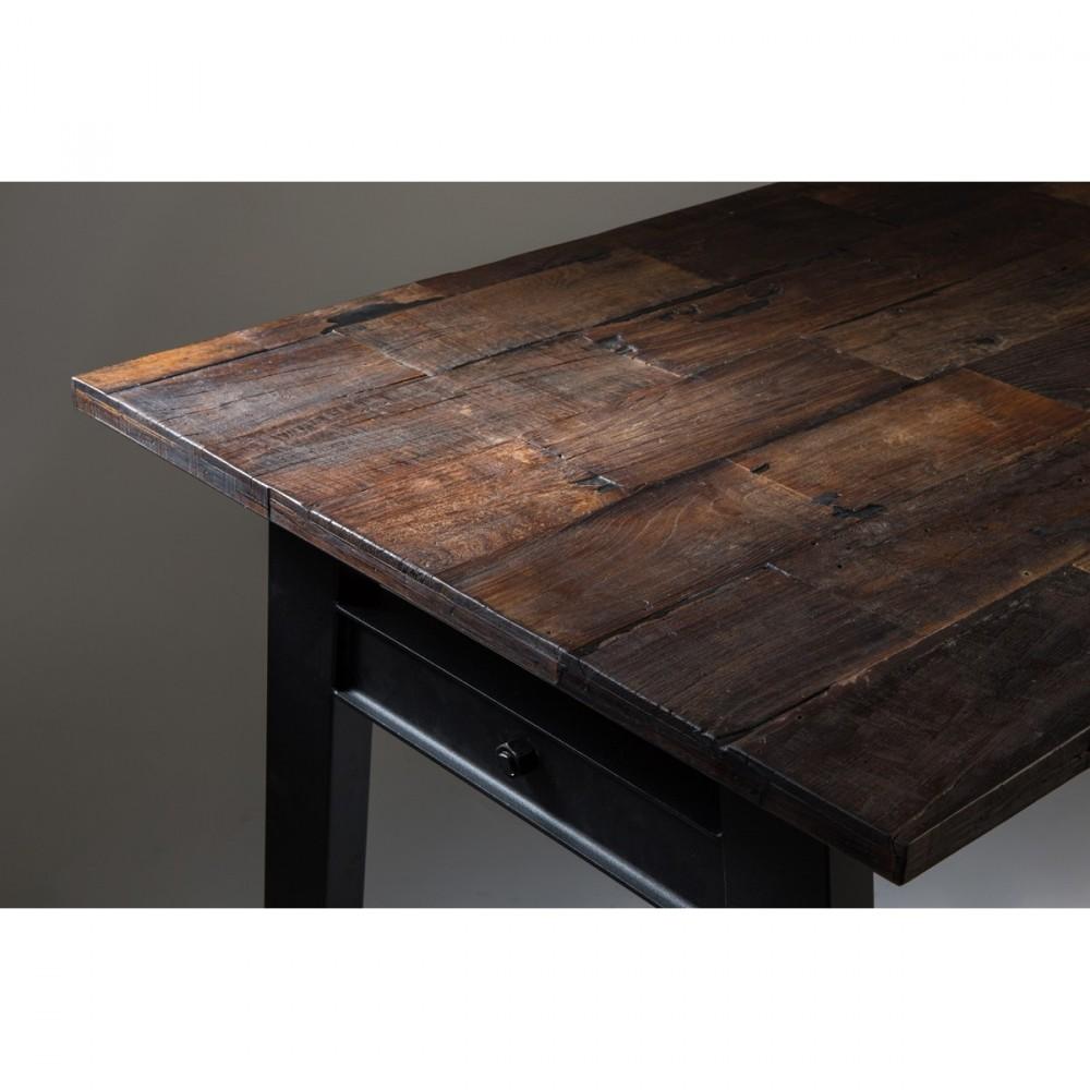 table vintage bois d 39 orme et m tal crude par drawer. Black Bedroom Furniture Sets. Home Design Ideas