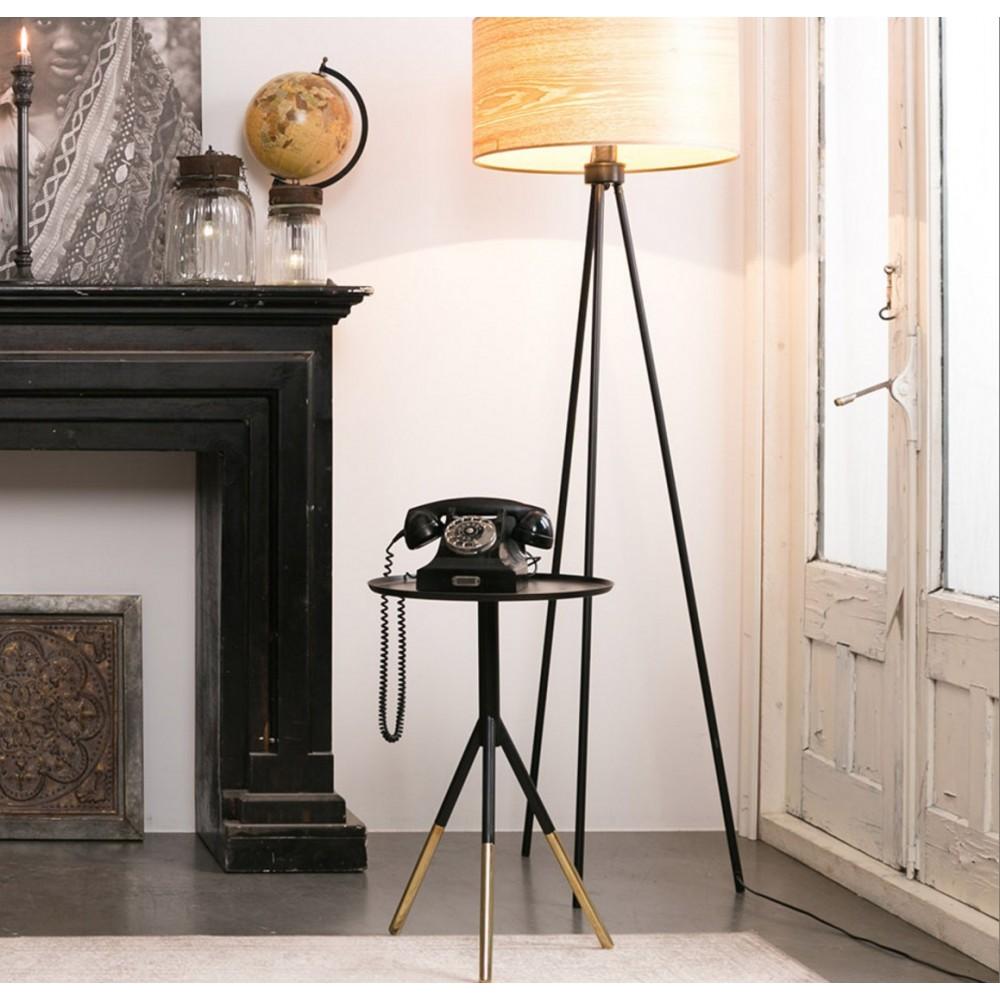 table d 39 appoint noir et laiton elia par. Black Bedroom Furniture Sets. Home Design Ideas