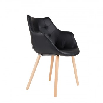 chaise lounge simili cuir Twelve Skin noire de Zuiver