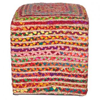 Pouf carré multicolore Lollies