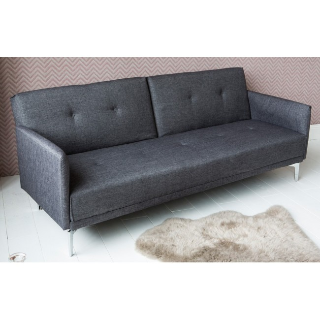 Canapé convertible design tissu gris anthracite 3 places Mister Smith