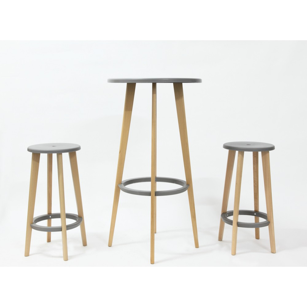 Tabouret bois design gris harry 39 s par drawer for Table bar bois massif