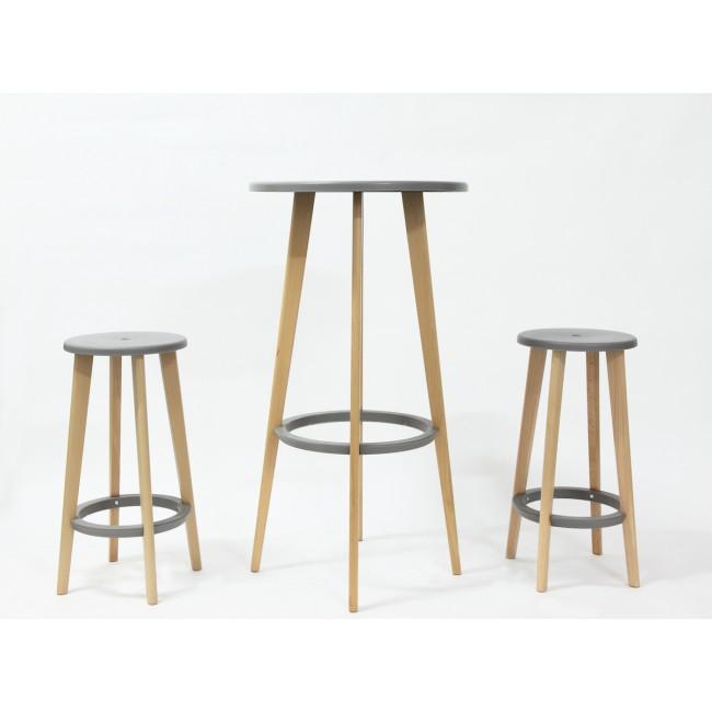 Table haute ronde et tabouret bois et gris design Harry's