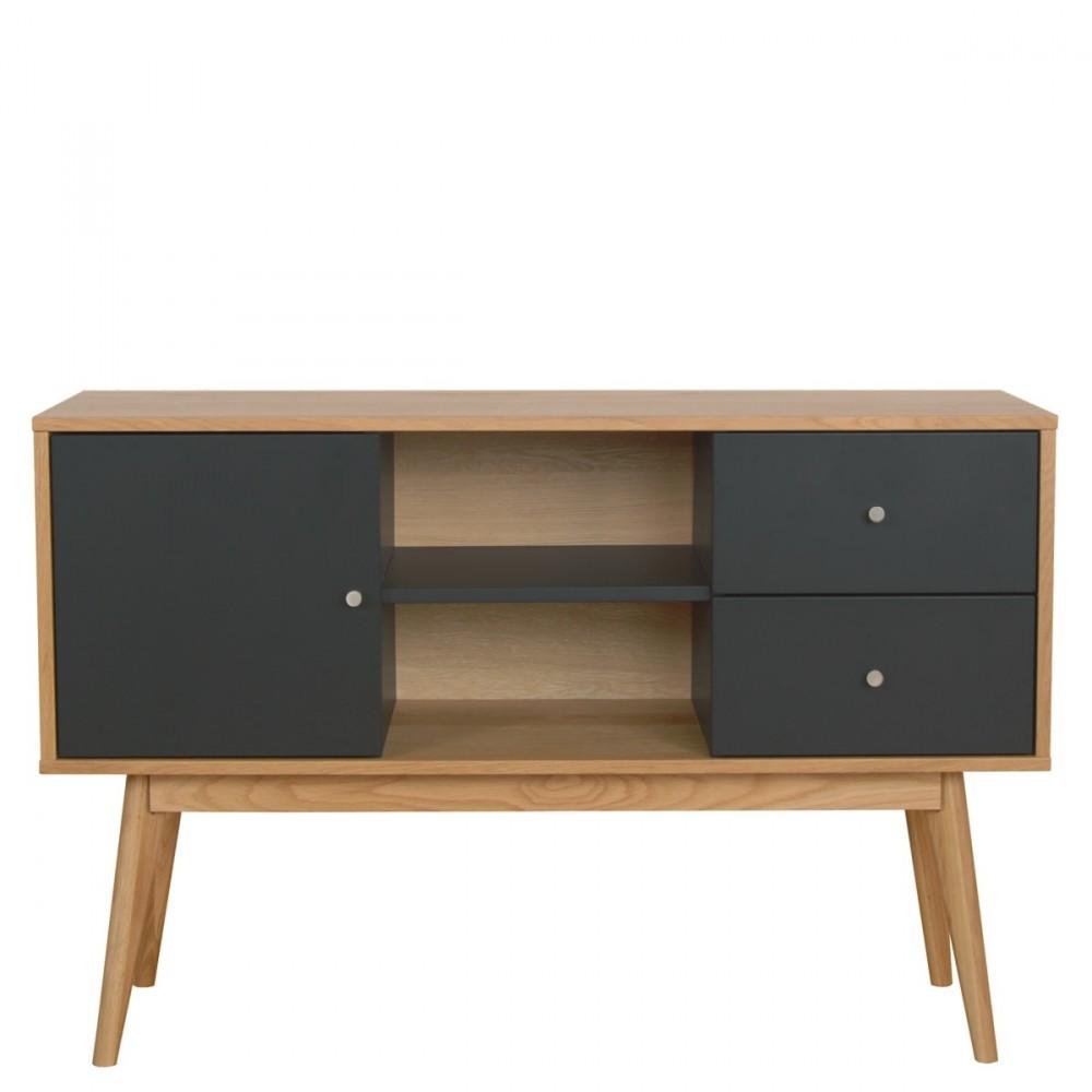 buffet design laque mat et bois skoll. Black Bedroom Furniture Sets. Home Design Ideas
