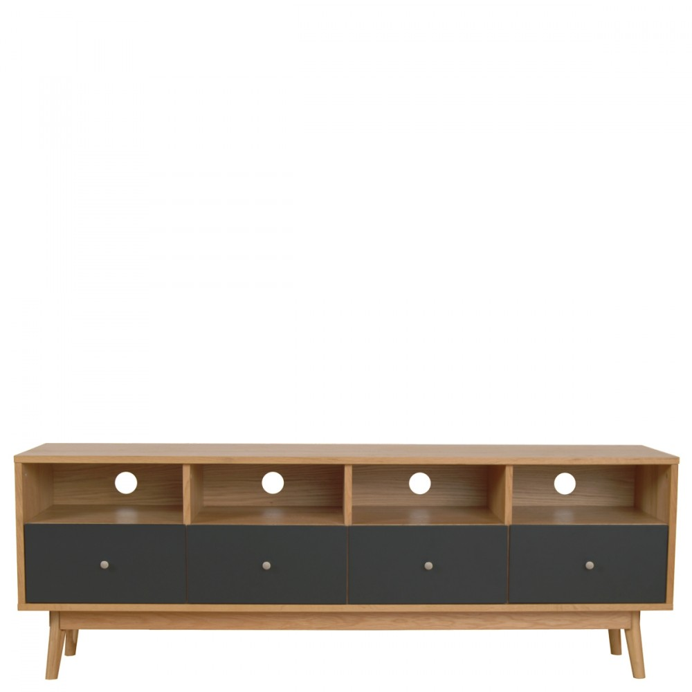 Meuble tv 4 tiroirs skoll style scandinave by drawer - Meuble tv gris anthracite ...