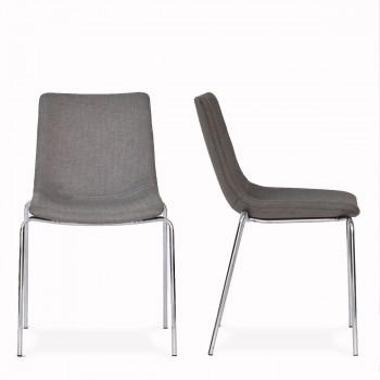 Lot de 2 chaises lounge Vixen tissu gris