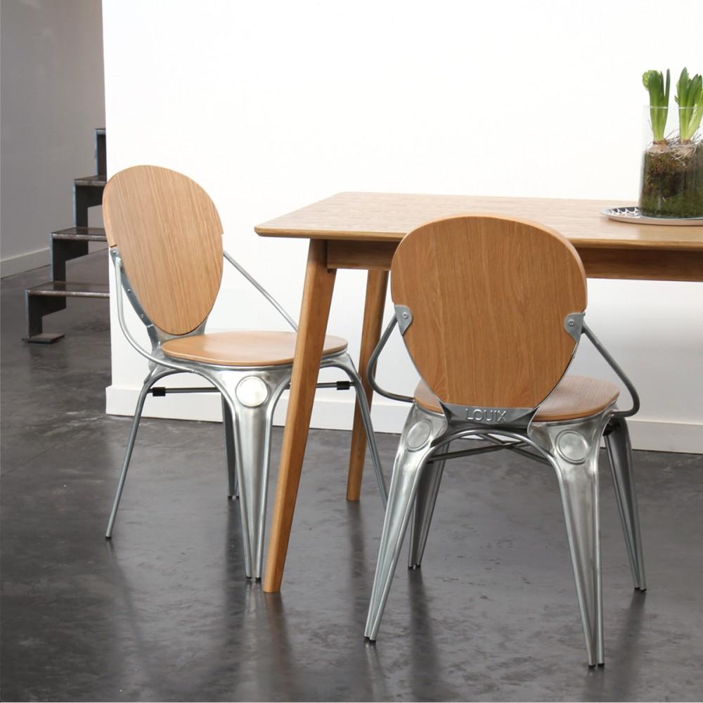 chaise style industriel en bois et m tal by drawer. Black Bedroom Furniture Sets. Home Design Ideas