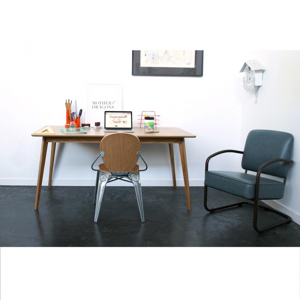 Table rectangulaire en bois clair chaises scandinaves et suspension -  Table Scandinave En Bois 160x80cm Skoll