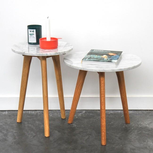 Table basse ronde bois et marbre White Stone S