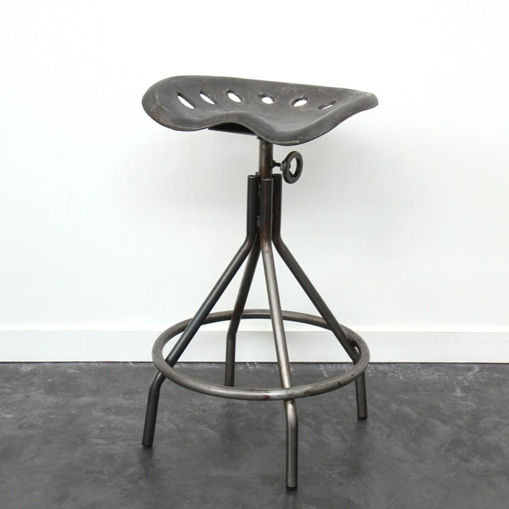 tabouret de bar m tal vintage hauteur ajustable. Black Bedroom Furniture Sets. Home Design Ideas