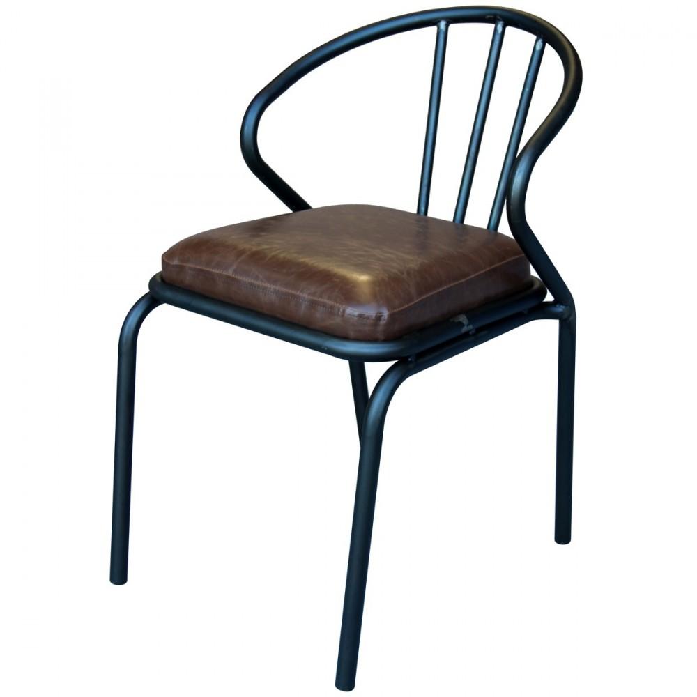 Chaise vintage m tal simili cuir waldorf par for Chaise cuisine simili cuir