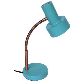 Lampe à poser métal bleu et cuivre fifties Robusta