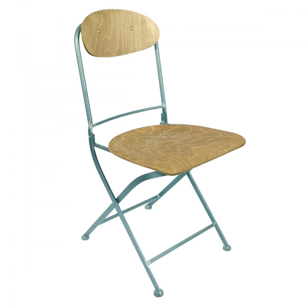 lot de 2 chaises pliantes m tal et bois knave par. Black Bedroom Furniture Sets. Home Design Ideas