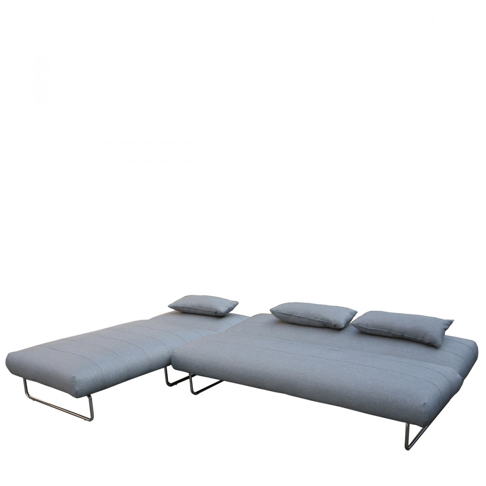Canap lit d 39 angle trois places prune tissu gris contemporain by - Canape d angle couleur prune ...