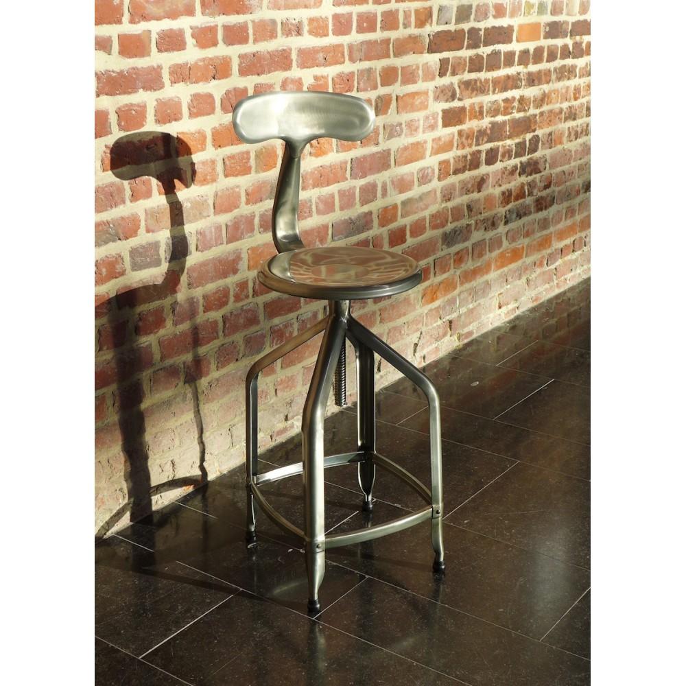 tabouret de bar industriel hauteur r glable marx par drawer. Black Bedroom Furniture Sets. Home Design Ideas