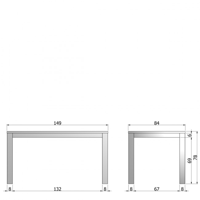 Table à manger en chêne noire 150x85 Tygo